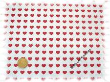 Herzchen in Reihe Wachstuch Baumwolle wasserabweisend weiß rot 50 cm