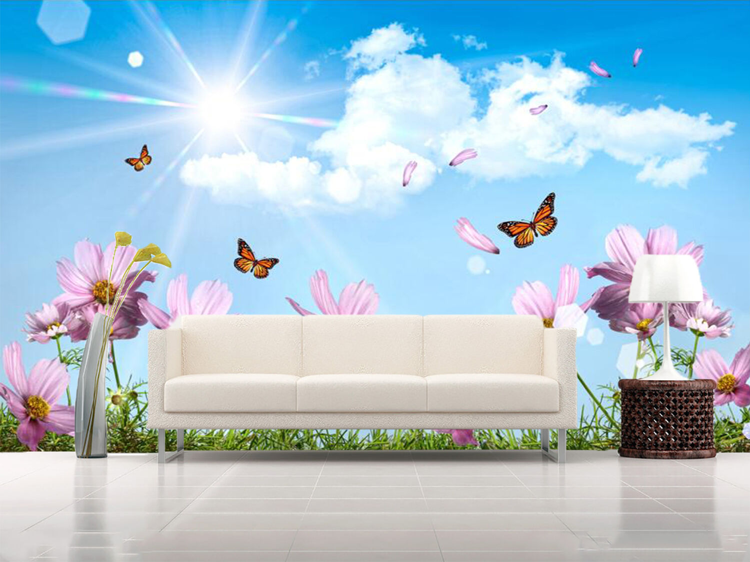 3D bluee Sky Butterfly Flower 2 Wall Paper Wall Print Decal Wall Deco Indoor Wall