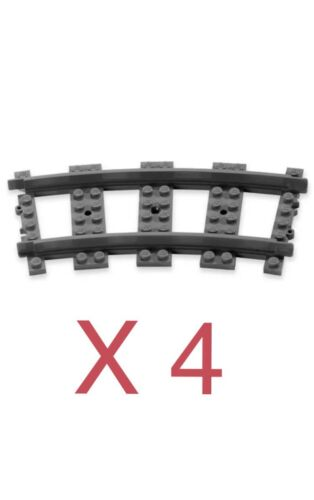 BRAND NEW. LEGO CITY RC CURVED TRAIN TRACK//RAIL X 4 CORNER CURVED BENDS
