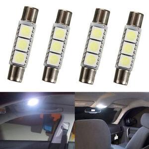 4x HID White 3-SMD 6641 Fuse LED Bulbs Vanity Mirror Light Sun Visor Light 31mm