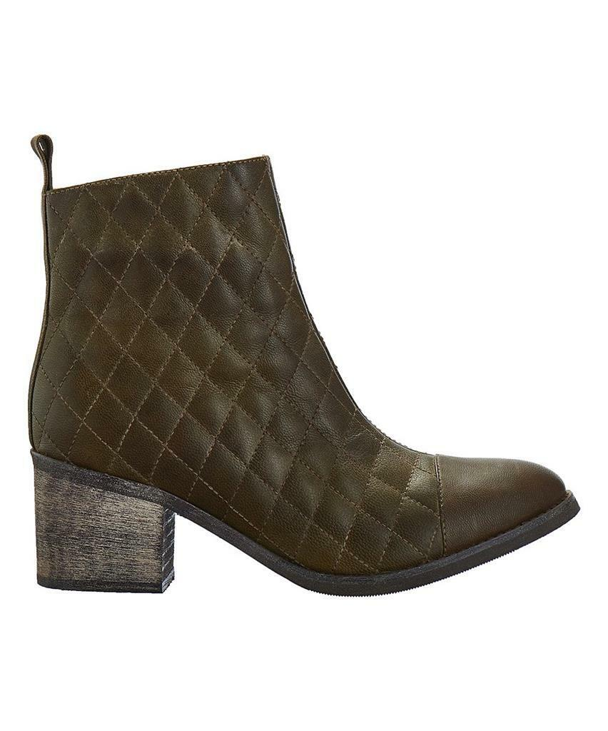 Antelope 682 Leather Khaki Quilted  Booties  41/10M