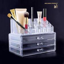 Clear Acrylic Makeup Cosmetics Organiser Grid Drawers Display Case 3 Storage Box