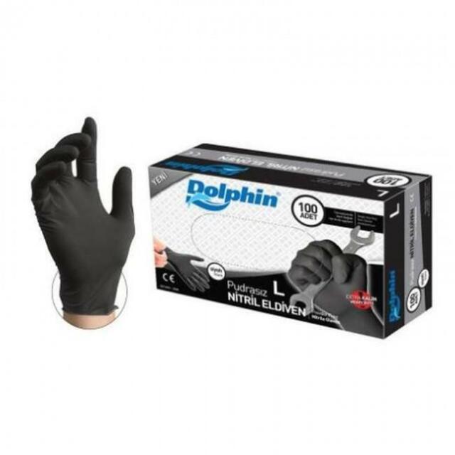 GLOVEWORKS Black Nitrile Heavy Duty Latex Free Disposable Gloves Mechanic 100pcs