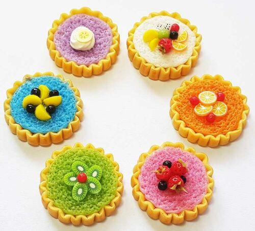 Doll Mini Food Cake Dessert Tart Set of 6 Dollhouse Miniature Mixed Fruit Pies