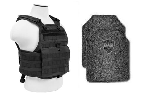 Body Armor   Bullet Proof Vest   AR500 Steel Plates   Base Frag Coating- PC BLK