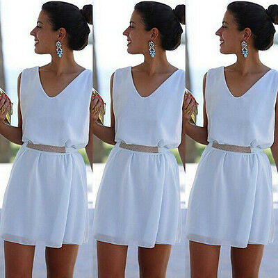 White Summer sleeveless chiffon Evening Sexy Party Cocktail Short Mini Dress