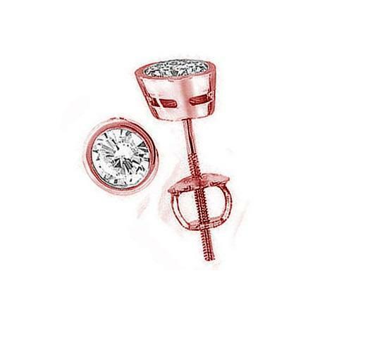 Natural Diamond 3 4Ct Solitaire Studs Earrings 14Kt pink gold Bezel Set 4.40MM