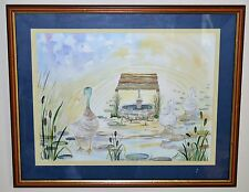"""""""Mother Duck & Babies""""Signed Watercolour Pen & Ink by Artist C. Pamela Wetherall"""