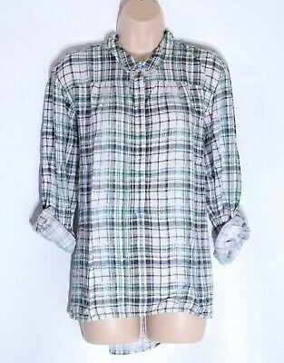Women's Vintage Cecil Manica Lunga Rol Loose Fit Check Verde Modale Blusa Top Xl-mostra Il Titolo Originale Moderno Ed Elegante Nella Moda
