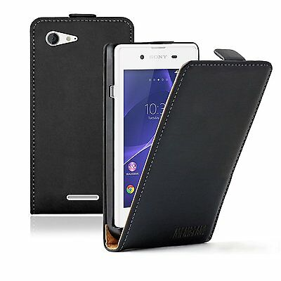 Ultra Slim BLACK Leather Case Cover Pouch Saver For Sony Xperia E3 Dual D2212
