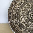 """32"""" Large Black Golden Round Pouffe Cover Floor Decorative Cushion Pouf Cover AU"""