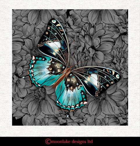 Cojín De Tela Azul Mariposa De Calidad Tapicería Artesanía Panel de acolchar