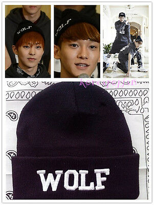 EXO EXODUS SEWN KNIT HAT FIRST YEAR KAI KRIS SEHUN BLACK WOLF CAP KPOP NEW
