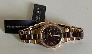 NEW-ANNE-KLEIN-ROSE-GOLD-amp-BROWN-CERAMIC-BRACELET-STRAP-WATCH-10-9118BMRG-95