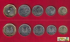 2013 SINGAPORE NEW SERIES 5 COIN COMPLETE SET $1, 50,20,10,5 CENT BIMETALLIC UNC