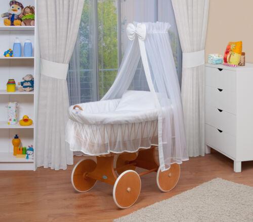 Weiß WALDIN Baby Bollerwagen,Stubenwagen,komplett mit Zubehör,XXL,Neu