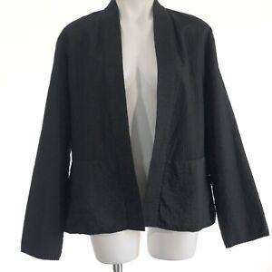 Eileen-Fisher-Womens-100-Silk-Open-Front-Lightweight-Jacket-Black-Size-XL