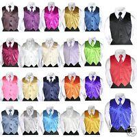 23 Satin Color Vest + Long Tie Necktie Formal Boys Teens Tuxedos Suits Size: S-7