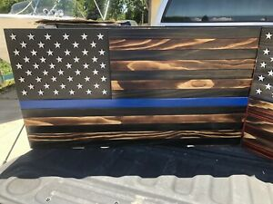 Thin Blue Line 36x195 Usa American 50 Star Flag Indoor Outdoor