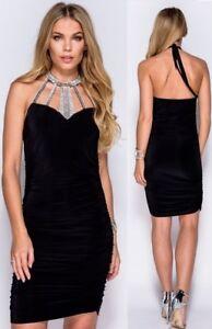 best website 7e0c8 ef7d8 Dettagli su miniabito vestito Tubino donna nero scollatura con strass  elegante sexy