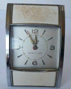 Vintage-Westclox-Travel-Alarm-Clock-Duo-Larm-Wind-Up-with-Tambor-Doors-PARTS