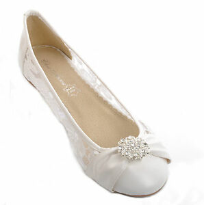 38726bee44f Image is loading Off-white-Lace-Diamante-Wedding-Ballerina-Bridal-Flat-