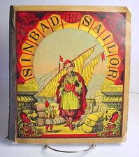 Antique Big Picture Book Sinbad the Sailor, Beautiful Illustrations, Children's