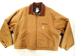 CARHARTT Mens Heavy Duty Work Jacket Size XXL 2XL USA Made Brown/Tan