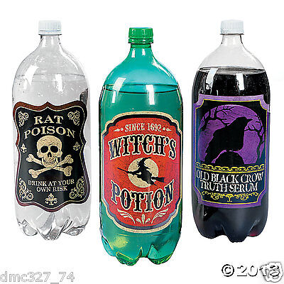 12 HALLOWEEN Party Decoration 2 Liter DRINK Soda Poison Potion BOTTLE LABELS