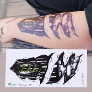 3D-Waterproof-Robot-Arm-Temporary-Tattoo-Stickers-Body-Art-Removable-Tatoos-FR