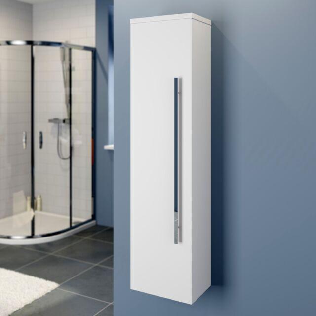 Modern Bathroom Tall Cabinet Cupboard Wall Hung Furniture Storage White Gloss