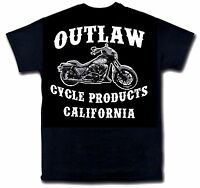 Outlaw Cycle Products Logo Biker T-shirt Black Short Sleeve Motorcycle