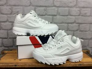 Details zu FILA UK 6 EU 39 1/2 MENS DISRUPTOR II WHITE SILVER LEATHER  TRAINERS CHUNKY A