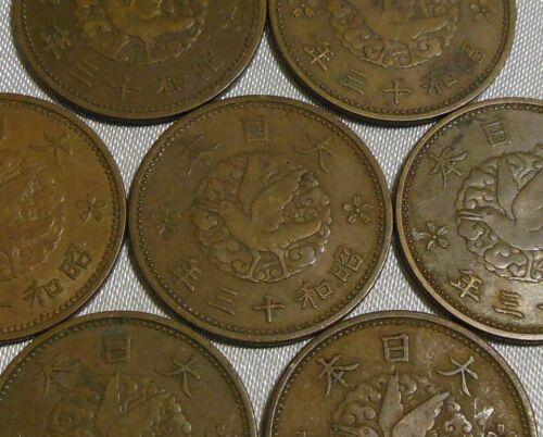 Vintage 1938 Japan Flying Raven Sen Coin Showa Emperor Year 13 Old Japanese Sen