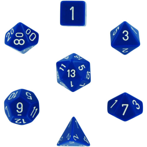 Polyhedral 7-Die Opaque Dice Set Blue with White