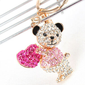 Lovely-Bear-Sweet-Heart-Charm-Pendant-Rhinestone-Crystal-Purse-Bag-KeyChain-Gift
