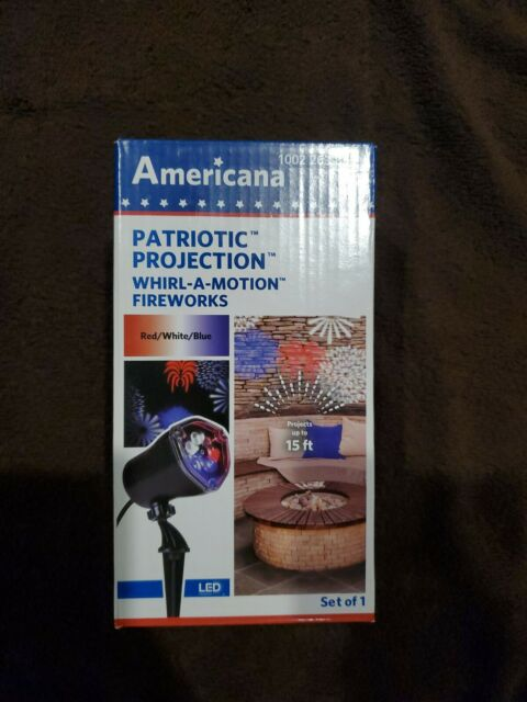 Gemmy Americana Patriotic Projection Whirl-a-motion Fireworks New