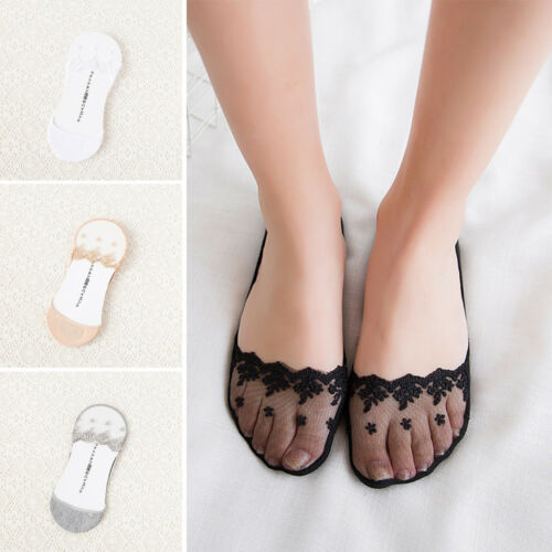 NEW Women Invisible No Show Anti Skid Lace Liner Ankle Low Cut Boat Loafer Socks