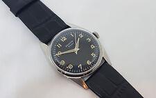Raro década de 1960 ZENITH piloto CAL:2542 Manual De Dial Negro Reloj de Hombre Viento SS caso