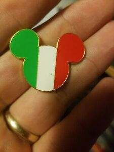 Country-Flag-Icon-Disney-Pin-Mickey-Head-amp-Ears-Disneyland-Paris-Italy-USED