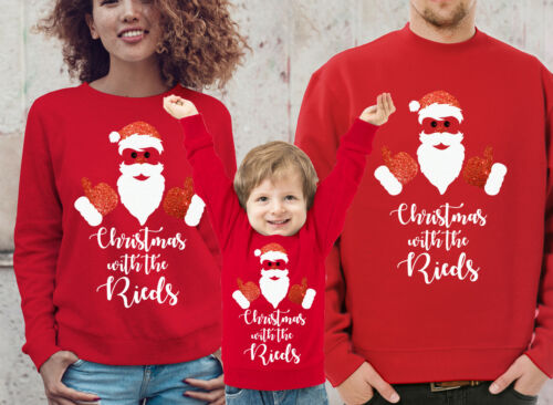 Custom Family Christmas red jumpers set with glitter Santa Set of 2 4 or 5 3