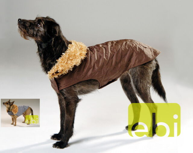 Hundemantel Dog Fashion L xL braun grau gesteppt gefüttert Hunde Mantel Winter