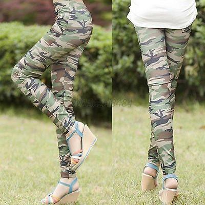 Women Skinny Stretchy Legging Camouflage Cotton Trouser Tight Long Pencil Pant