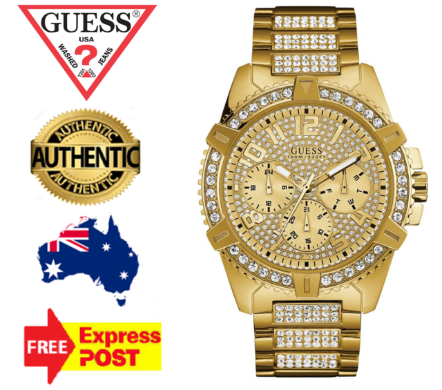 GUESS FRONTIER W0799G2 GOLD/CRYSTAL CHRONOGRAPH QUARTZ MENS WATCH NEW IN BOX
