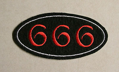 Lucifer Satan Hell Devil Embroidered 666 Patch on Black Felt Sew or Iron On