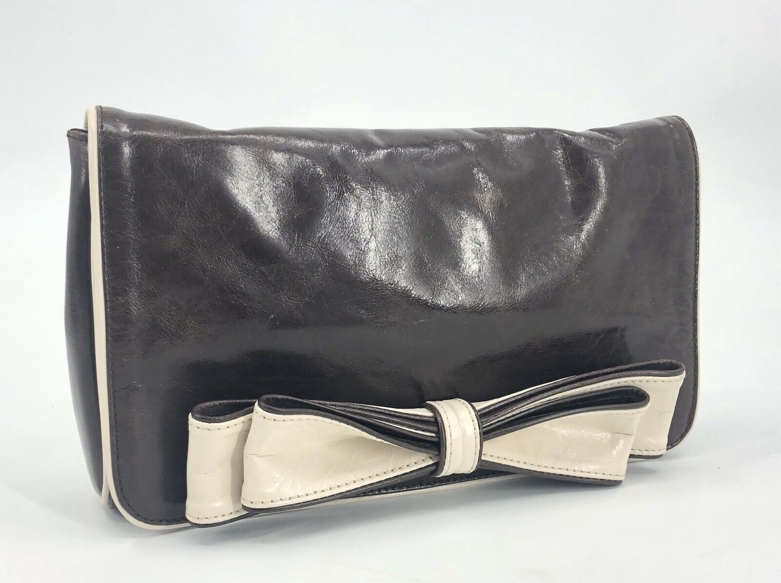 Steven by Steve Madden Brown Leather Clutch Purse Cream Bow Tie Evening Dressy