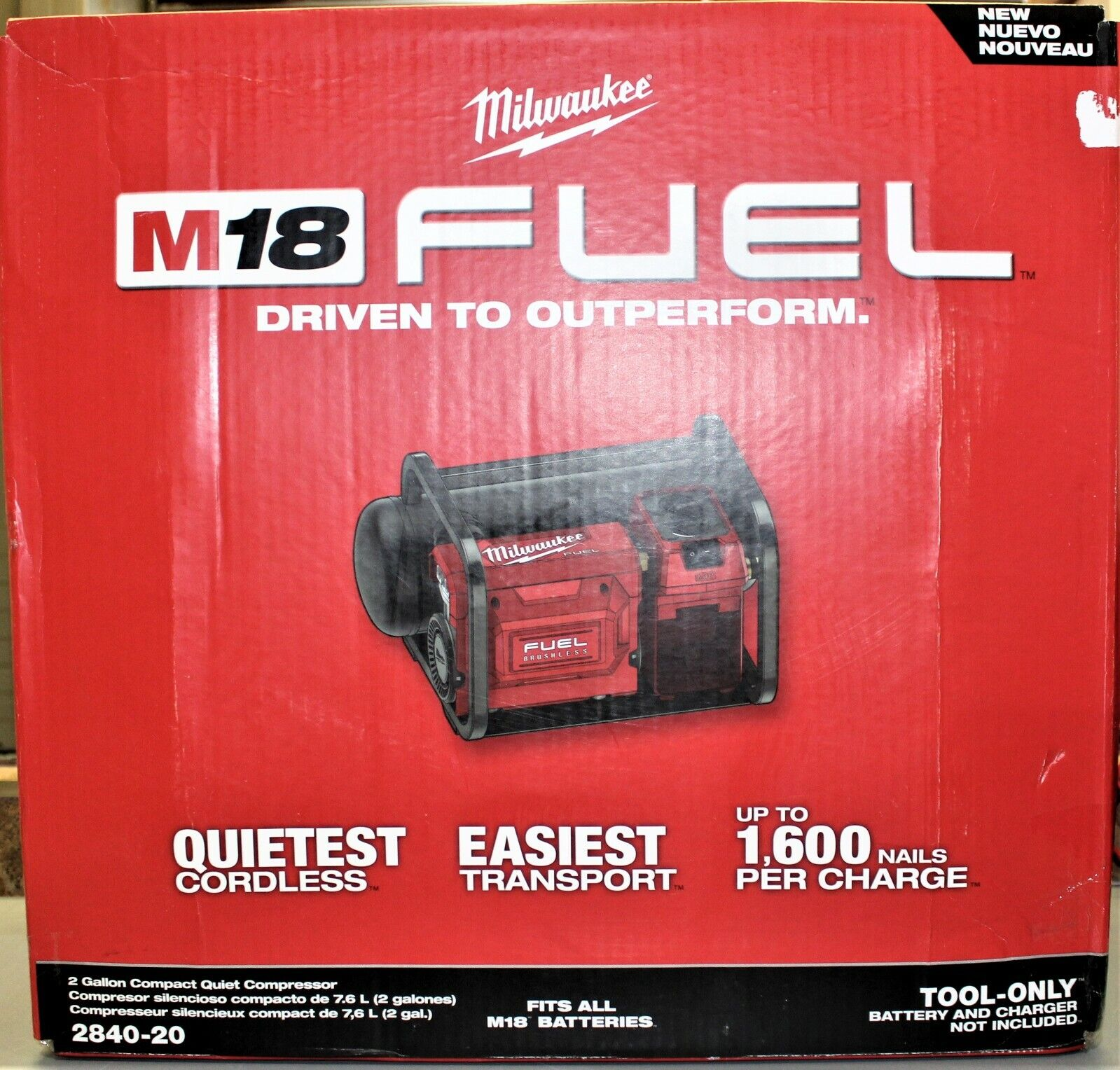 Milwaukee 2840-20 18V FUEL Brushless Cordless 2-Gal Compact Quiet Compressor. Buy it now for 329.99