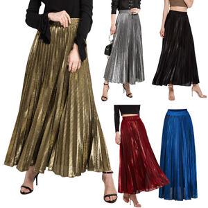 Women-Vintage-Metallic-Long-Midi-Pleated-A-Line-Skirt-Stretch-High-Waist-Shiny