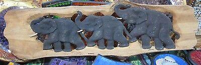 HAND CARVED ELEPHANT TEAK TIMBER WOOD PANEL WALL HANGER
