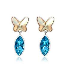 Fashion White Gold Stud Dangle Earrings Swarovski Butterfly Crystal Elements